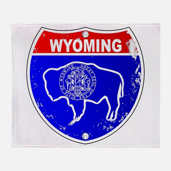 Wyoming Flag Icons As Interstate Sig Throw Blanket
