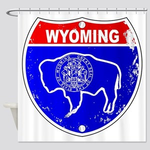 Wyoming Flag Icons As Interstate Si Shower Curtain