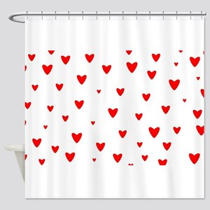 Red Hearts Background Shower Curtain
