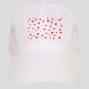 Red Hearts Background Cap