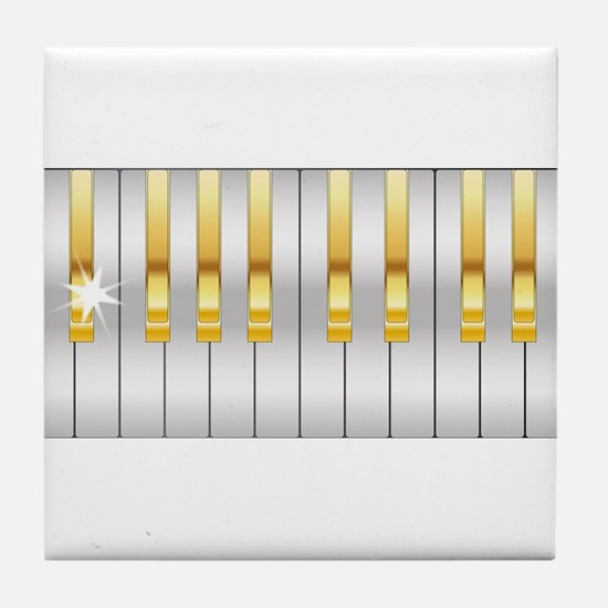 Gold And Silver Piano Keys Tile Coaster