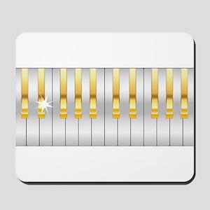 Gold And Silver Piano Keys Mousepad