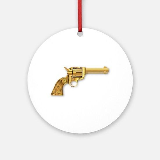 Golden Six Gun Round Ornament