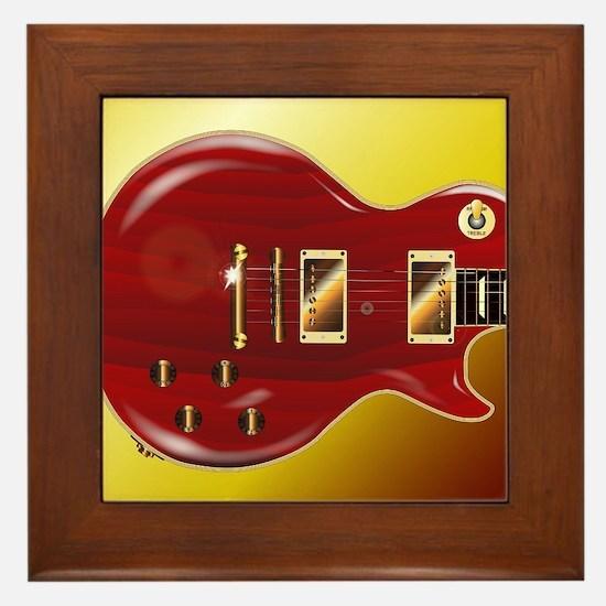 Red Grained Guitar Framed Tile