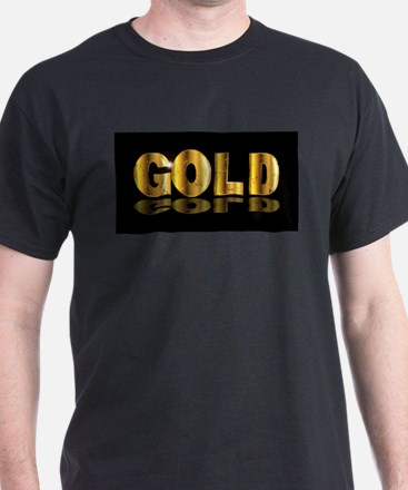 Gold Text On Black T-Shirt