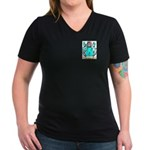 Wood English Women's V-Neck Dark T-Shirt