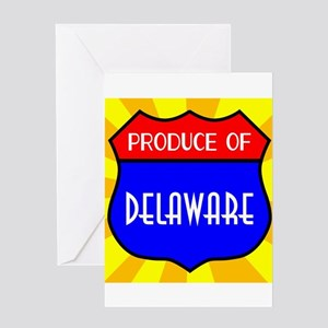 Produce Of Delaware Shield Greeting Cards