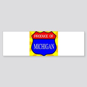 Produce Of Michigan Shield Bumper Sticker