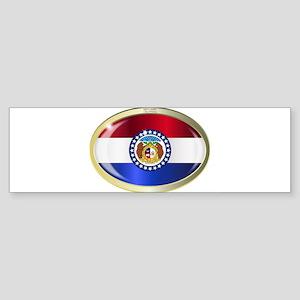 Missouri State Flag Oval Button Bumper Sticker