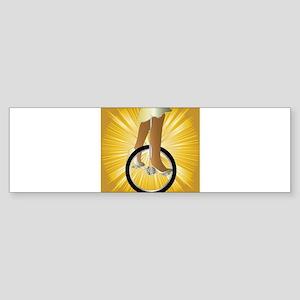 Unicycle On Golden Splash Bumper Sticker