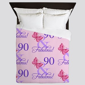 90 & Fabulous Birthday Queen Duvet