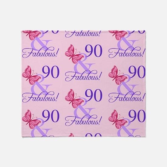 90 & Fabulous Birthday Throw Blanket
