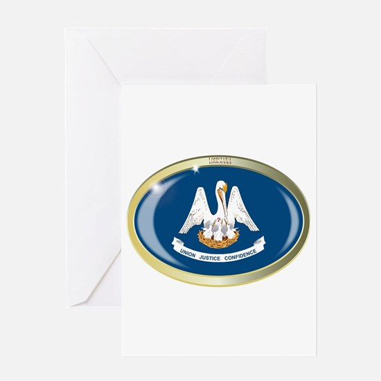 Louisiana State Flag Oval Button Greeting Cards