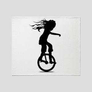 Little Girl On A Unicycle Throw Blanket
