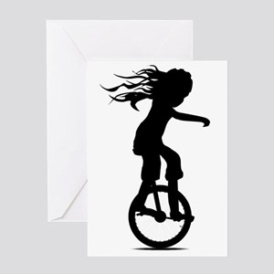 Little Girl On A Unicycle Greeting Cards