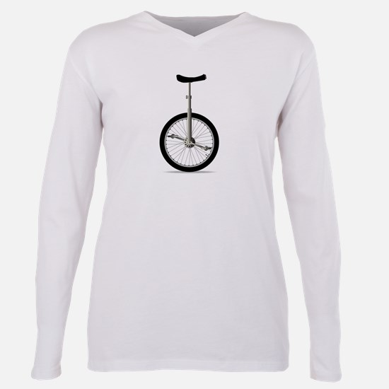 Unicycle On White Plus Size Long Sleeve Tee