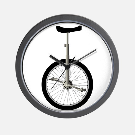 Unicycle On White Wall Clock