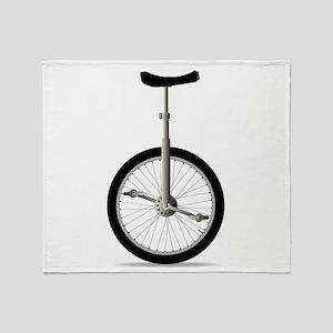 Unicycle On White Throw Blanket