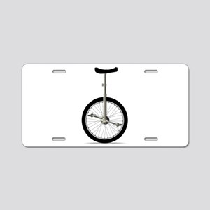 Unicycle On White Aluminum License Plate