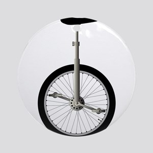 Unicycle On White Round Ornament