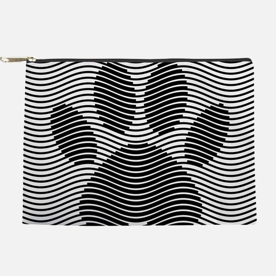 Dog Paw Print On Black And White Waves Makeup Bag