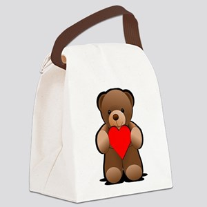 Teddy Bear Heart Print Canvas Lunch Bag