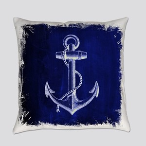 nautical navy blue anchor Everyday Pillow