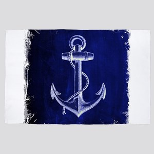 nautical navy blue anchor 4' x 6' Rug
