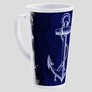 nautical navy blue anchor 17 oz Latte Mug
