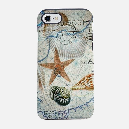 seashells nautical map vinta iPhone 8/7 Tough Case