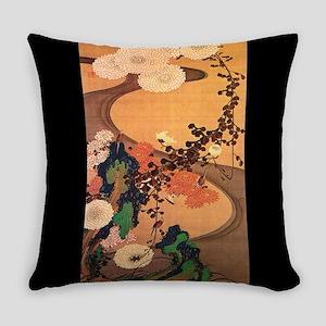 Vintage Japanese Chrysanthemum flowers painting Ev