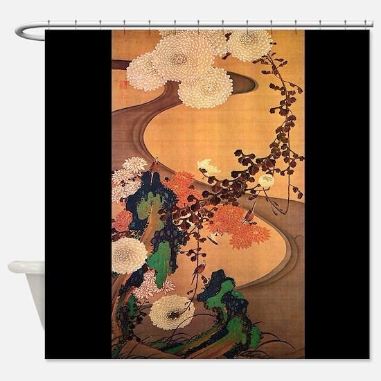 Vintage Japanese Chrysanthemum flowers painting Sh
