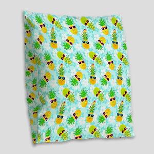 Christmas Pineapples Burlap Throw Pillow