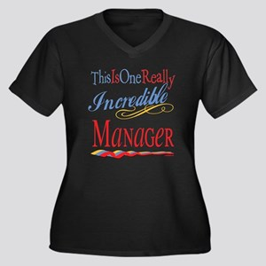 Incredible Manager Women's Plus Size V-Neck Dark T
