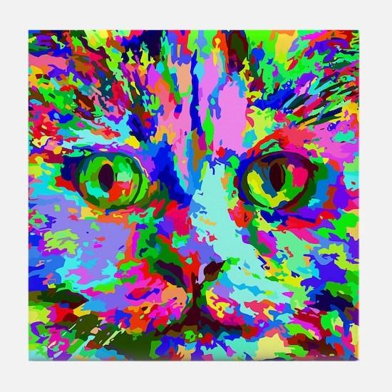 Pop Art Kitten Tile Coaster