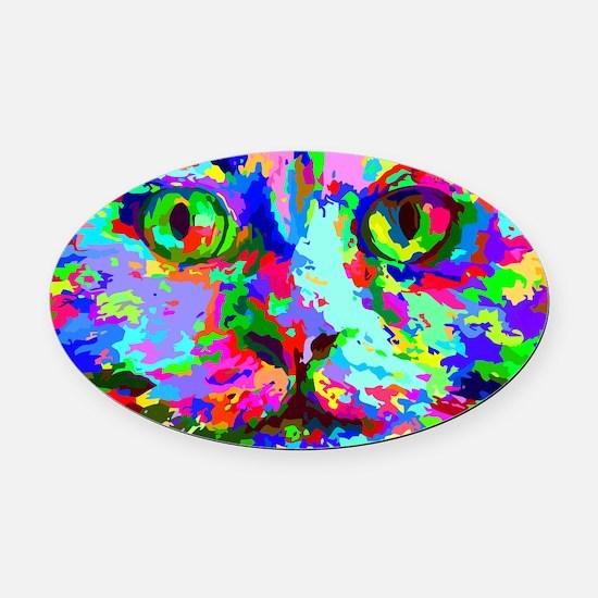 Pop Art Kitten Oval Car Magnet