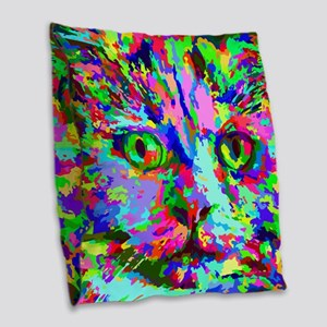 Pop Art Kitten Burlap Throw Pillow