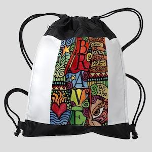 Brave Girl Inspirational Quote Drawstring Bag