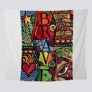Brave Girl Inspirational Quote Wall Tapestry
