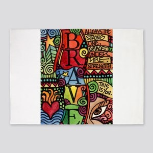 Brave Girl Inspirational Quote 5'x7'Area Rug