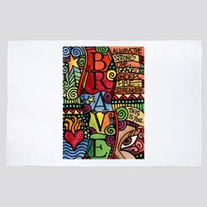 Brave Girl Inspirational Quote 4' x 6' Rug