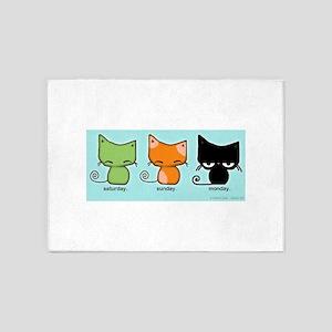 Saturday Sunday Monday Cats 5'x7'Area Rug