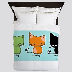 Saturday Sunday Monday Cats Queen Duvet