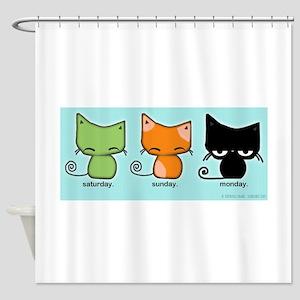 Saturday Sunday Monday Cats Shower Curtain