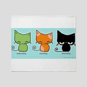 Saturday Sunday Monday Cats Throw Blanket