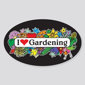 I Heart Gardening Oval Sticker