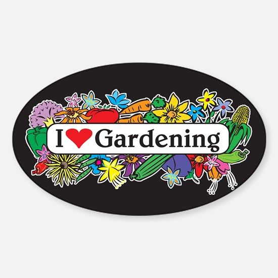 I Heart Gardening Oval Decal