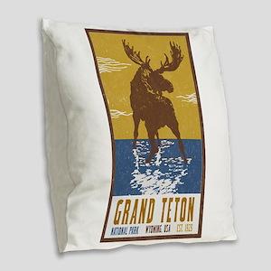 Grand Teton Moose Vintage Nati Burlap Throw Pillow