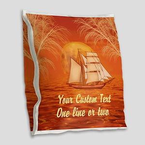Personalized Sailboat Burlap Throw Pillow
