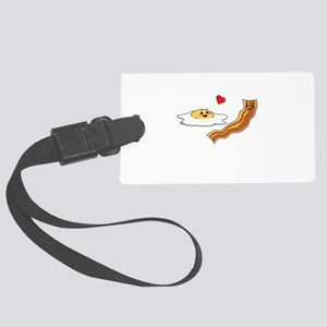 Cartoon Eggs and Bacon Breakfast Large Luggage Tag